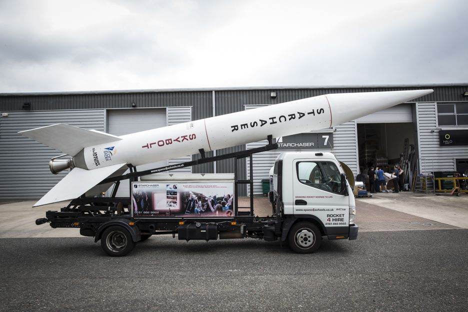 Starchaser Industries Ltd Skybolt rocket on a lorry